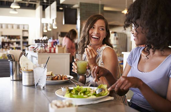 Two females sharing healthy lunch in Austin, Texas
